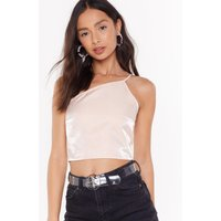 Asymmetric Or Treat Satin Crop Top
