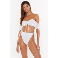 After All Is Thread Off-the-shoulder High-leg Bikini Set