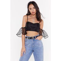 Attention Seeker Organza Cold Shoulder Crop Top