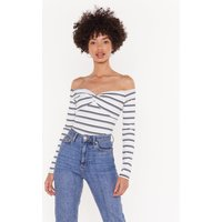 All Stripes Of Fun Off-the-shoulder Bodysuit