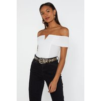 Believe It Or Notch Off-the-shoulder Bodysuit