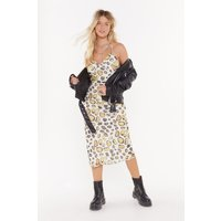 Answer Back Print Midi Dress