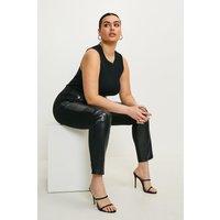 Karen Millen Curve Leather And Ponte Button Legging -, Black