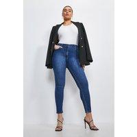 Karen Millen Curve Organic Luxe Cut High Rise Skinny Jeans -, Mid Wash
