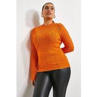 Karen Millen Curve Textured Stitch Funnel Top -, Orange