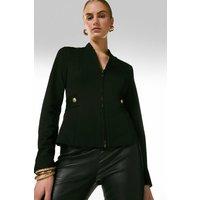 Karen Millen Military Zip Front Ponte Jersey Blazer -, Black
