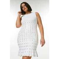 Karen Millen Curve Knitted Dress With Peplum And Studs -, Ivory