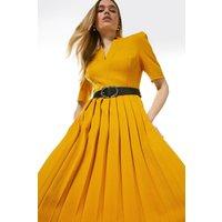 Karen Millen Structured Crepe Forever Pleated Midi Dress -, Orange