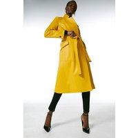 Karen Millen Leather  Notch Neck Coat. -, Yellow