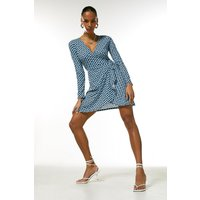 Karen Millen Long Sleeve Jersey Km Logo Tie Wrap Dress -, Blue