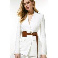 Linen Blend Clean Belted Jacket