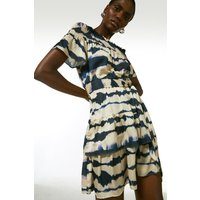 Karen Millen Tie-dye Bardot Belted Dress -, Blue