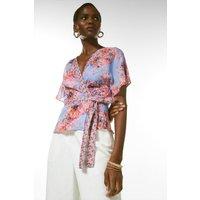 Karen Millen Soft Floral Woven Wrap Top -, Pale Blue