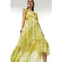 Karen Millen Cutwork Applique Paisley Drama Maxi Dress -, Yellow