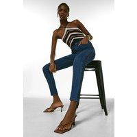 Karen Millen Pintuck Side Jean -, Mid Wash