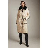 Karen Millen Long Faux Fur Collared Quilted Coat -, Brown