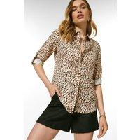 Karen Millen Linen Viscose Woven Long Sleeve Shirt -, Animal