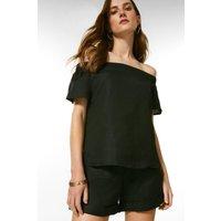 Karen Millen Linen Viscose Woven Bardot Top -, Black