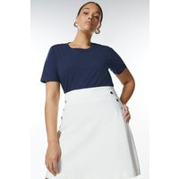 Karen Millen Curve Cotton Jersey Crew T-Shirt -, Navy