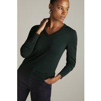 Karen Millen Viscose Blend Knitted V Neck Jumper -, Green