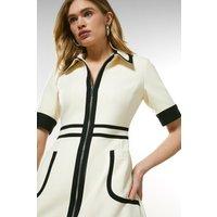 Karen Millen Contrast Panel Zip Front Dress -, Ivory