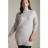Karen Millen Curve Merino Wool Roll Neck Longline Jumper -, Grey Marl
