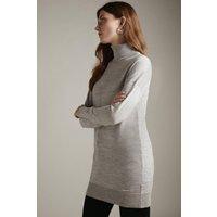 Karen Millen Merino Wool Roll Neck Longline Jumper -, Grey Marl