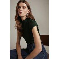 Karen Millen Merino Wool Roll Neck Top -, Green