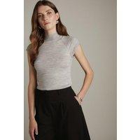 Karen Millen Merino Wool Roll Neck Top -, Grey Marl