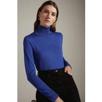 Karen Millen Merino Wool Roll Neck Jumper -, Blue