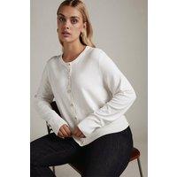 Karen Millen Curve Viscose Blend Knit Crew Neck Cardigan -, Cream
