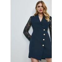 Karen Millen Structured Crepe Lace Sleeve Wrap Dress -, Navy
