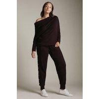 Karen Millen Curve Viscose Blend Knitted Rivet Trim Jogger -, Red