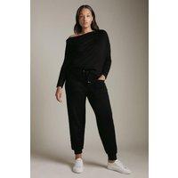 Karen Millen Curve Viscose Blend Knitted Rivet Trim Jogger -, Black