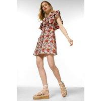 Karen Millen Cotton Stripe Ditsy Ruffle Dress -, Red