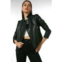 Karen Millen Leather Racer Biker Jacket -, Black