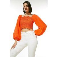 Karen Millen Embroidered Blouson Sleeve Woven Top -, Red Orange