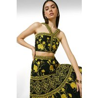Tile Embroidered Woven Halter Top