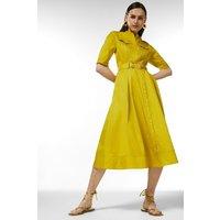 Karen Millen Cotton Utility Shirt Dress -, Chartreuse