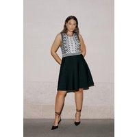 Karen Millen Curve Jacquard Embellished Skater Dress -, Blackwhite