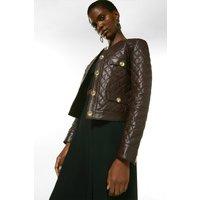 Karen Millen Petite Leather Quilted Trophy Jacket -, Fig