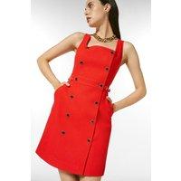 Karen Millen Cotton Pique Military Db Dress -, Red
