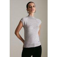 Karen Millen Petite Merino Wool Roll Neck Top -, Grey Marl