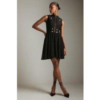 Karen Millen Military Knit Chiffon Dress In Recycled Yarn -, Black
