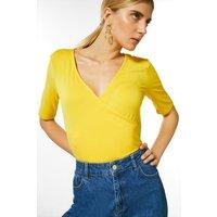 Karen Millen Jersey Wrap Short Sleeve Top -, Yellow