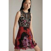 Karen Millen Oversized Bloom Bead Embellished Mini Dress -, Floral