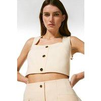 Karen Millen Clean Tailored Button Square Neck Top -, Cream