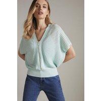 Karen Millen Sheer Stripe Knitted Zip Front Top -, Blue