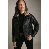 Karen Millen Curve Cavallino Animal Collar Biker Jacket, Multi