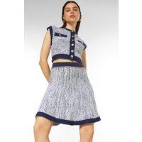 Karen Millen Tweed Knit Chain Detail Skirt -, Navy
